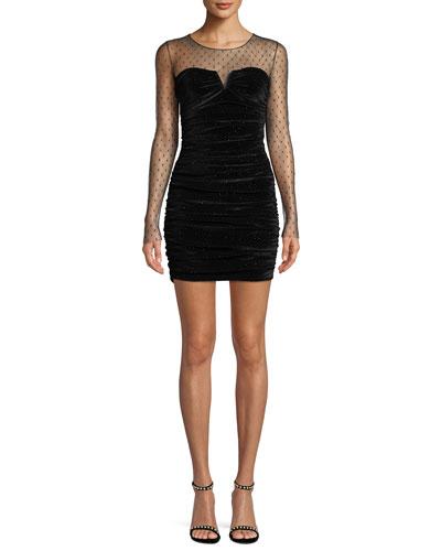 Long-Sleeve Dotted Sheer-Top Velvet Mini Cocktail Dress