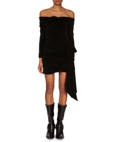 Off-the-Shoulder Long-Sleeve Jersey Mini Dress w/ Side Tie