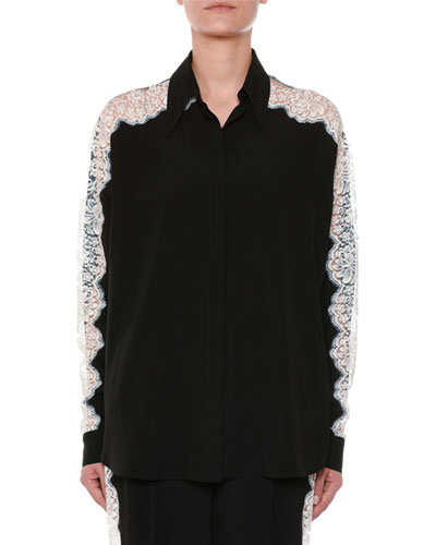 Long-Sleeve Button-Front Silk Blouse w/ Lace Insets