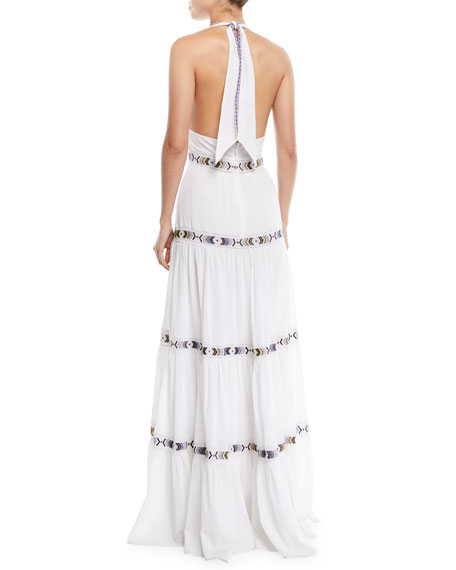 Talitha Collection Dakota V-Neck Halter Tiered Embroidered Long Cotton Dress