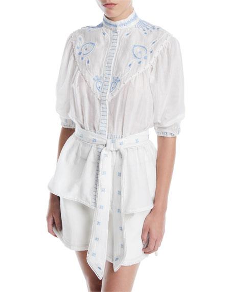 Prairie Embroidered Stand-Collar Button-Front Tie-Waist Shirt