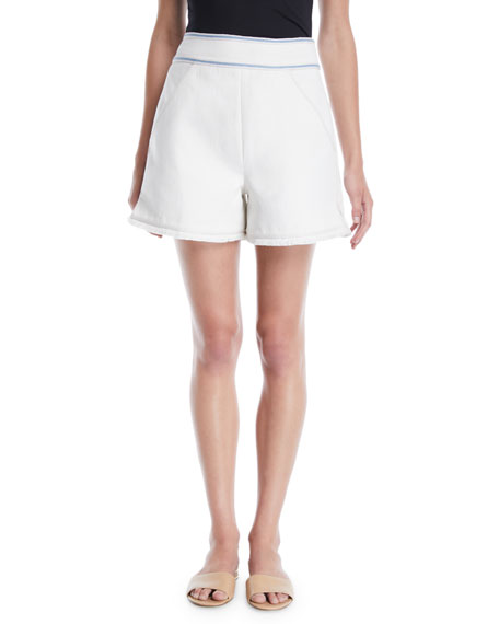 Talitha Collection Embroidered Cotton Tailored Shorts w/ Frayed