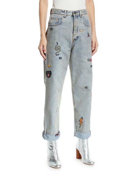Gucci High-Waist Marble-Washed Straight-Leg Denim Jeans w/