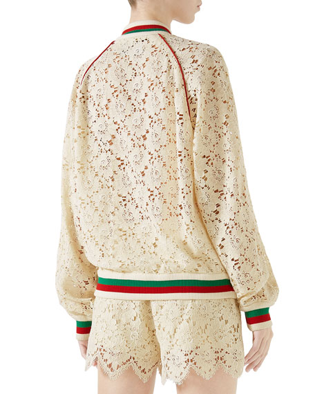 Leaf-Brocade Lace Zip-Front Bomber Jacket with Embroidered Patch