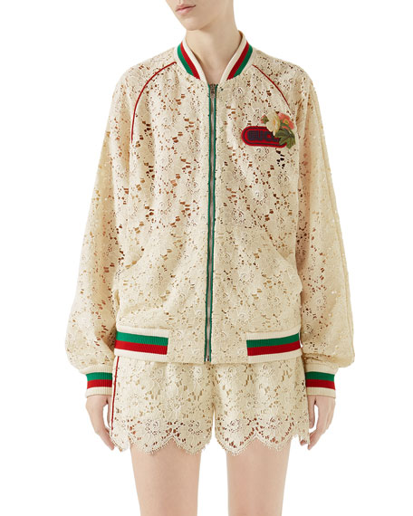 Gucci Leaf-Brocade Lace Zip-Front Bomber Jacket with Embroidered