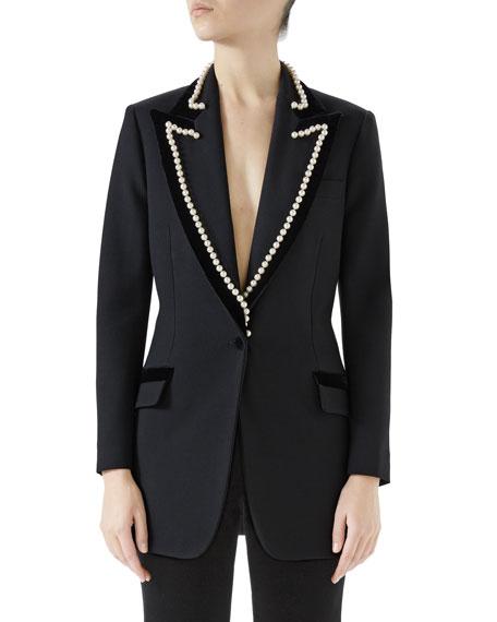 Peak-Lapel One-Button Wool Jacket w/ Velvet Trim & Pearl-Embroidery