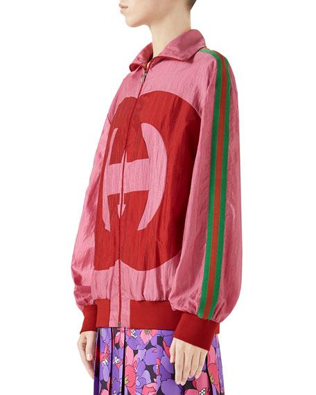 Zip-Front Technical Nylon Jacket w/ GG Intarsia