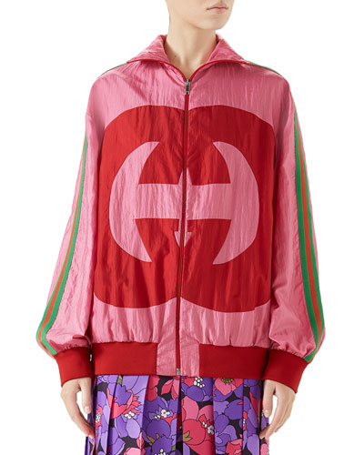 Zip-Front Technical Nylon Jacket w/ GG Intarsia