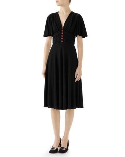 Short-Sleeve Jersey Dress w/ Ladybug Buttons