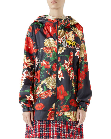 Gucci Zip-Front Hooded Spring Floral-Bouquet Print Nylon Jacket