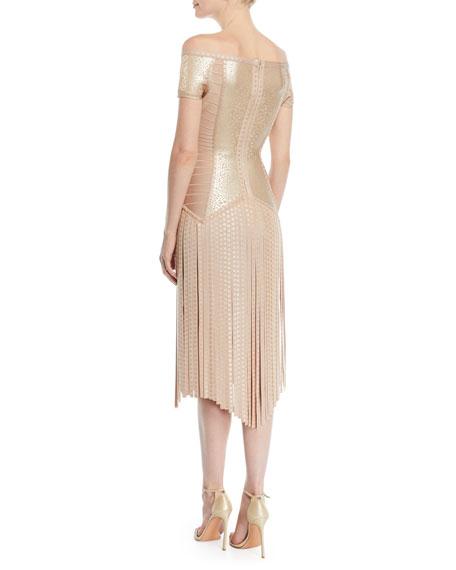Off-the-Shoulder Foil Fringe Cocktail Dress