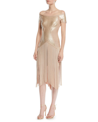 Off-the-Shoulder Foil Fringe Cocktail Dress