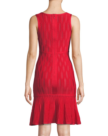Sleeveless Lightweight Tonal Jacquard Cocktail Dress w/ Mesh