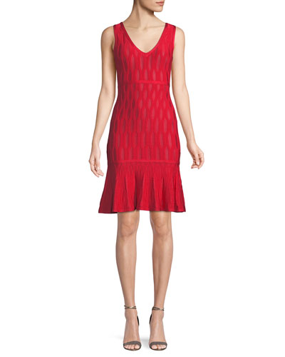 Sleeveless Lightweight Tonal Jacquard Cocktail Dress w/ Mesh