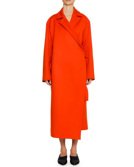 Belted Wool/Cashmere Wrap Coat, Red