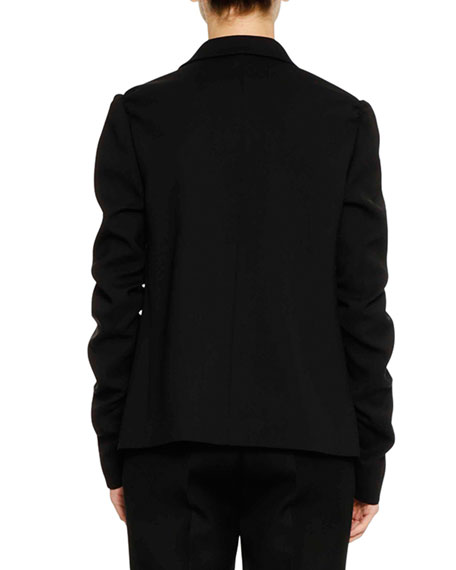 Four-Button Shirred-Sleeves Wool Jacket