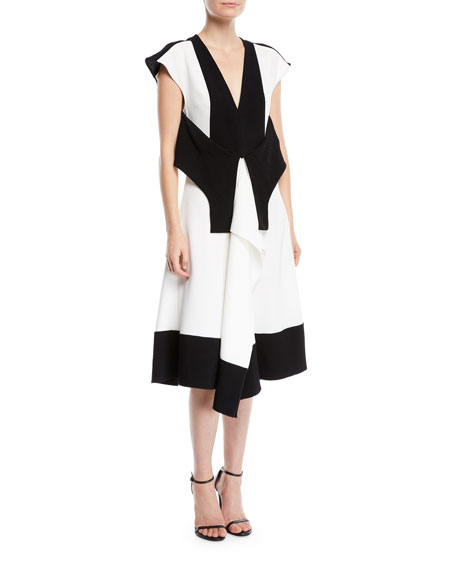 V-Neck Sleeveless Colorblocked Dress w/ Tie-Waist Detail