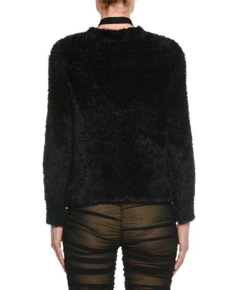 Lacing Deep-V Long-Sleeve Furry Wool Pullover Sweater