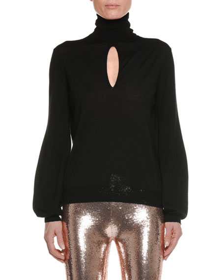Turtleneck Keyhole Long-Sleeve Cashmere-Silk Top