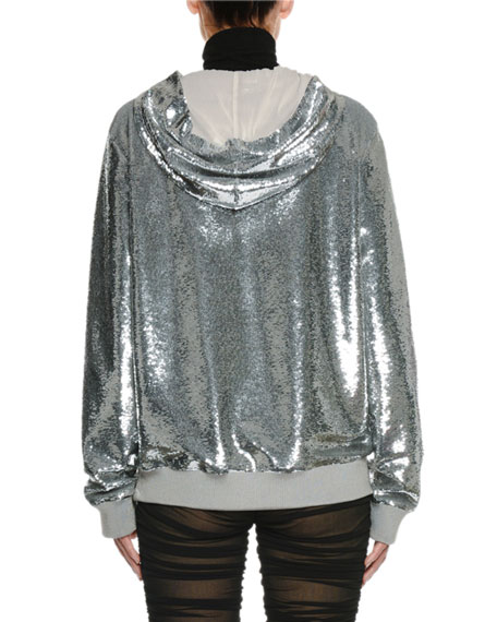 Zip-Front Hooded Sequin Jacket