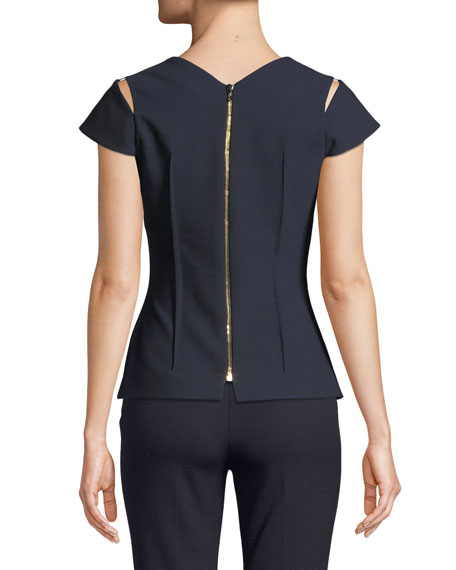 Cap-Sleeve Cutout Back-Zip Top