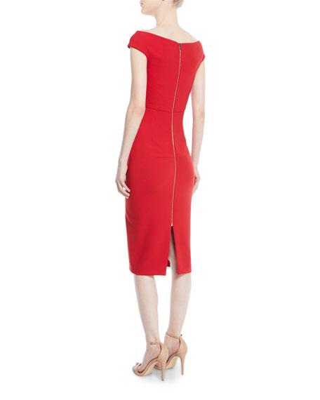 Roland Mouret Off-the-Shoulder Cap-Sleeve Crepe Sheath Dress