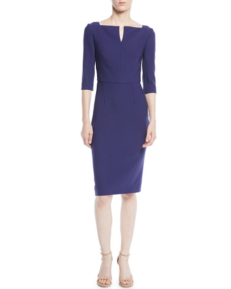 Elbow-Sleeve Split-Neck Crepe Sheath Dress