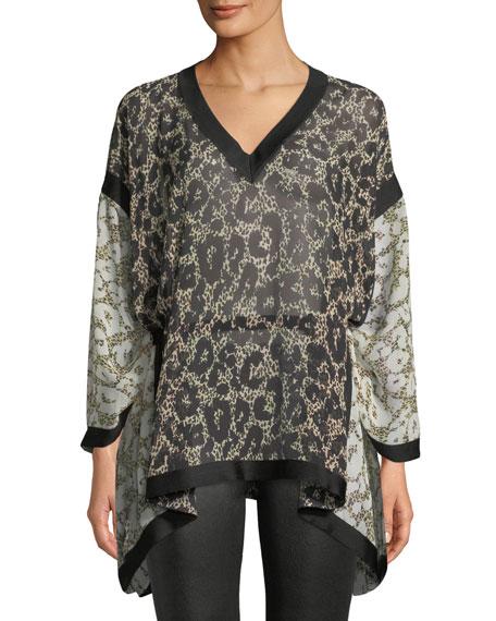 Long-Sleeve V-Neck Retro Leopard-Print Caftan Blouse w/ Self Belt