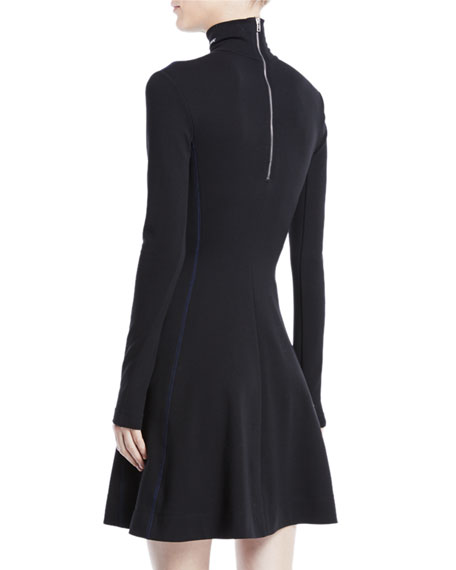 Turtleneck Long-Sleeve Fit-and-Flare Jersey Dress w/ Contrast Stitch
