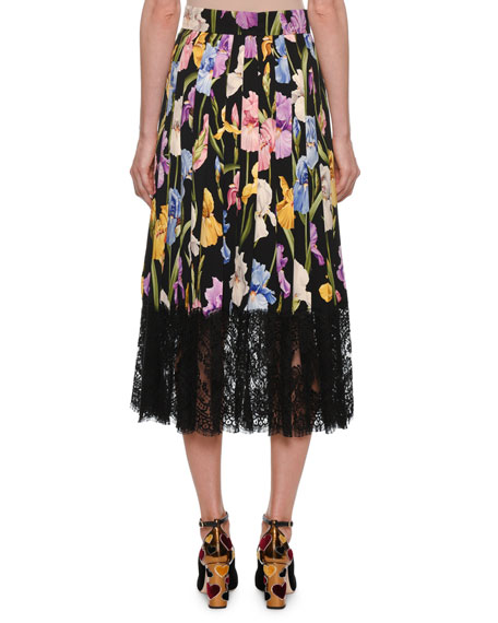Floral-Print Silk Charmeuse Pleated Skirt w/ Lace Hem
