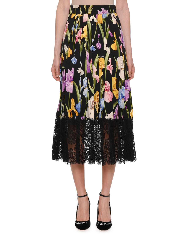48ed2c232f Dolce & Gabbana Floral-Print Silk Charmeuse Pleated Skirt w/ Lace Hem