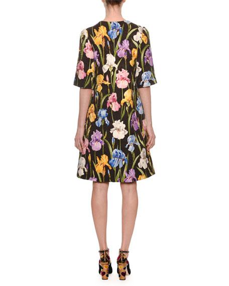 Elbow-Sleeve Iris-Print A-Line Brocade Dress