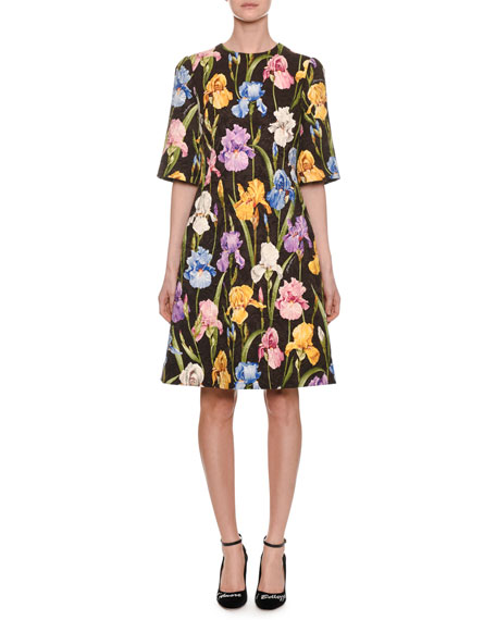Dolce & Gabbana Elbow-Sleeve Iris-Print A-Line Brocade Dress