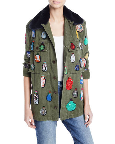 Button-Front Cotton Jacket w/  Beaded Ornament Detail