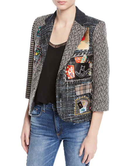 Libertine Multimedia Tweed Patchwork Blazer