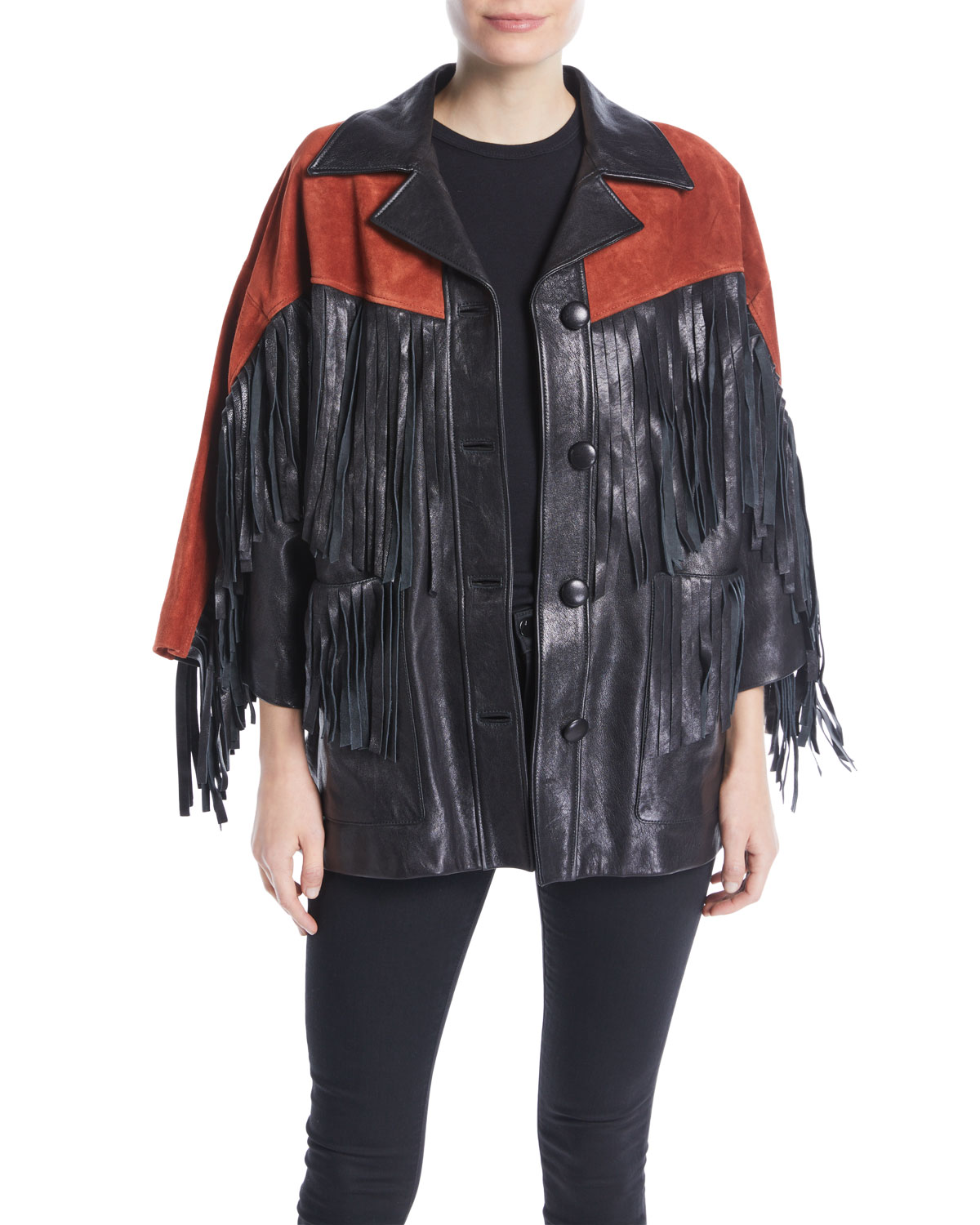 772c45943ff7 Gucci Grainy Leather Jacket with Suede Fringe   Studded Guccy on ...