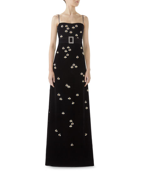 Spaghetti Strap Velvet Bee Embroidered Gown