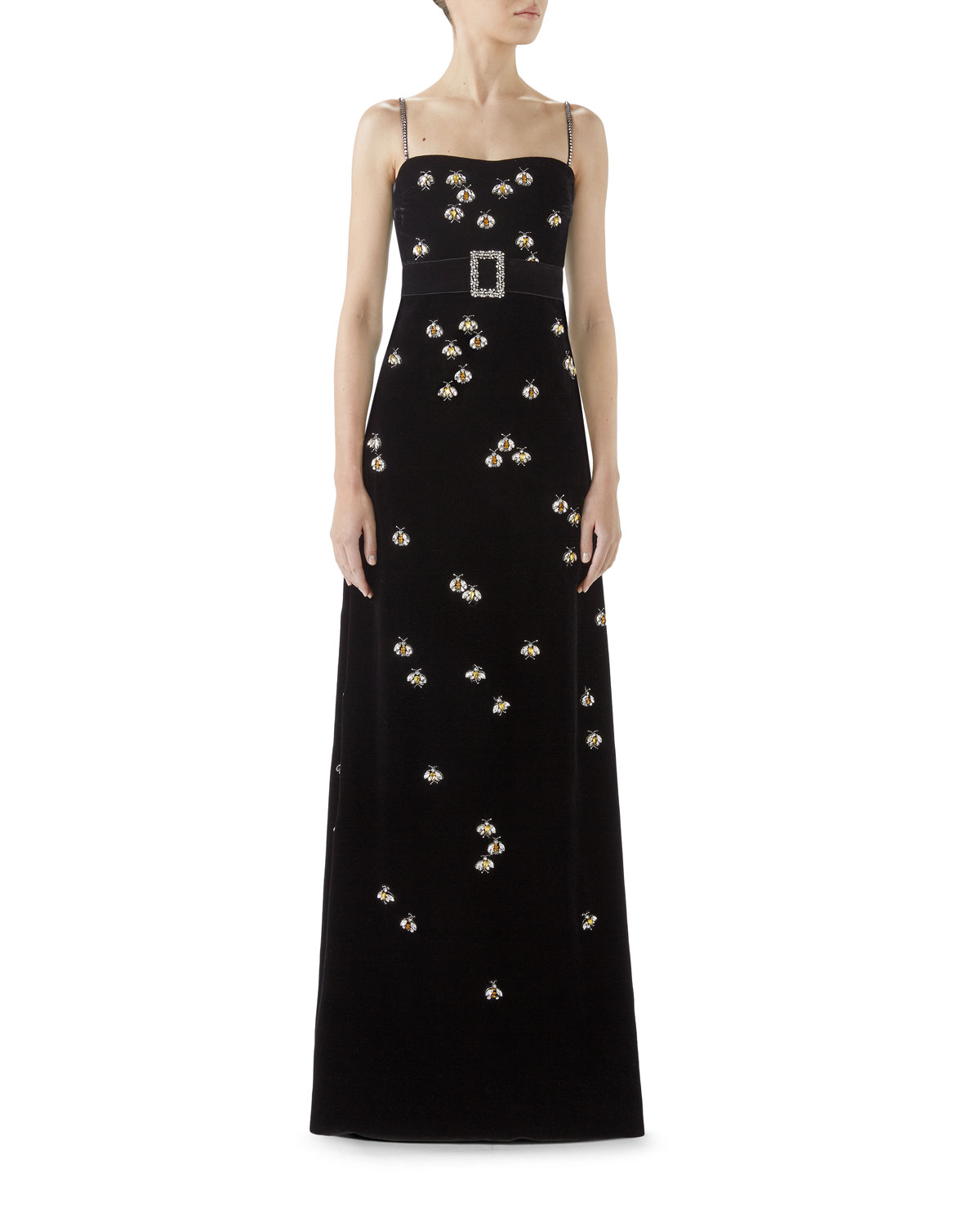 Gucci Spaghetti Strap Velvet Bee Embroidered Gown | Neiman Marcus