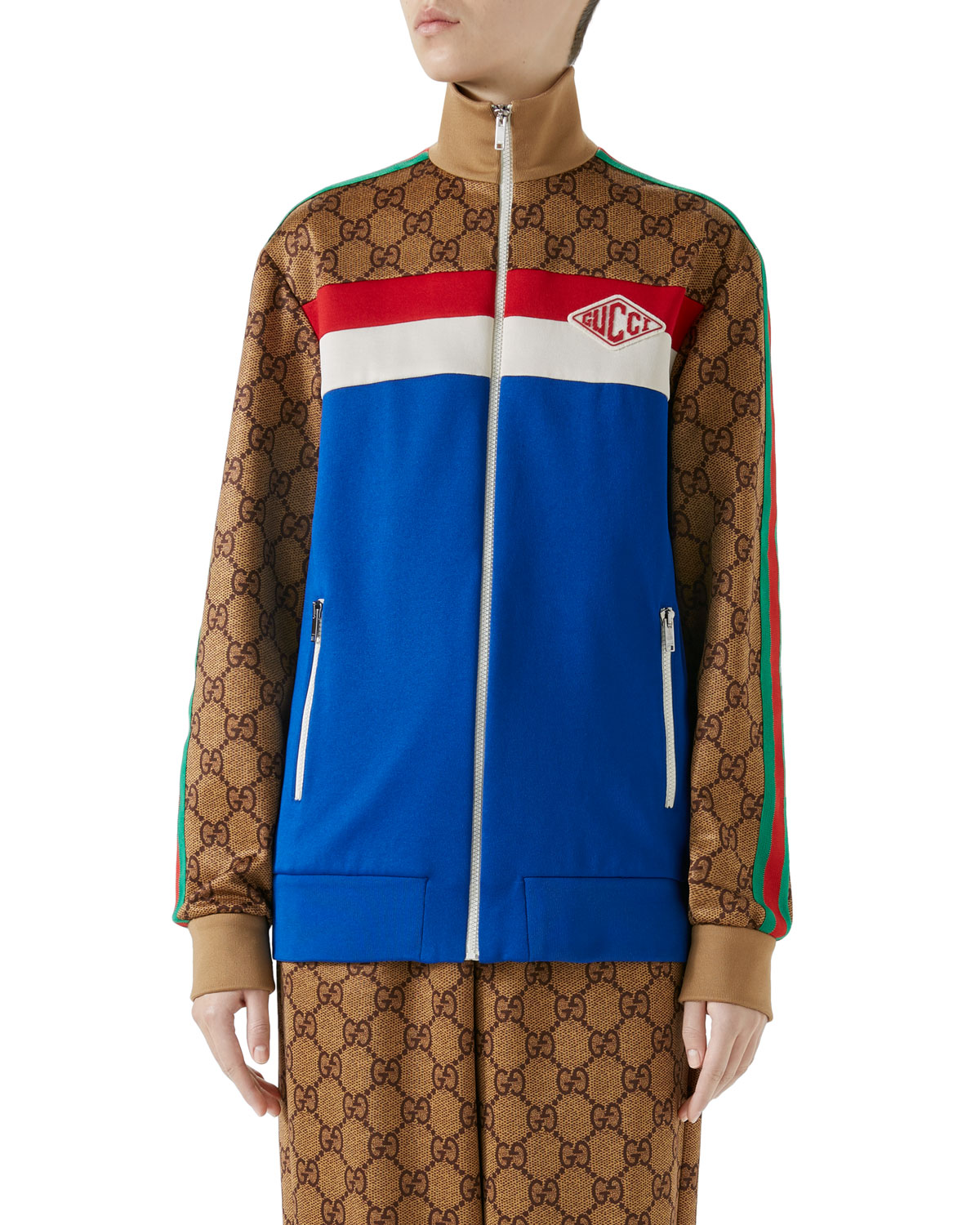 Gucci Gg Technical Zip Up Track Jacket Neiman Marcus