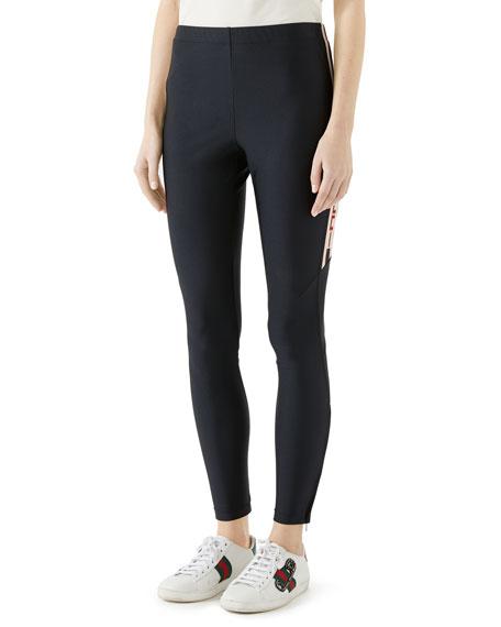 Gucci Shiny Jersey Leggings w/ Gucci Sport Trim