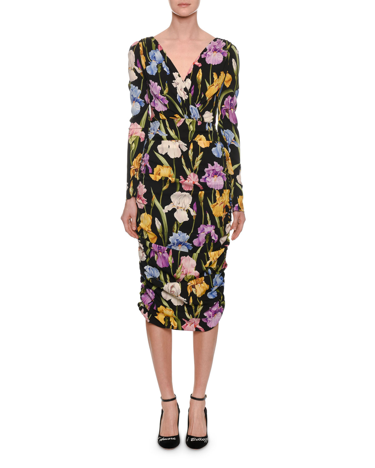 aa1507c530ad Dolce   GabbanaLong-Sleeve V-Neck Ruched Iris-Print Tea-Length Daytime Dress