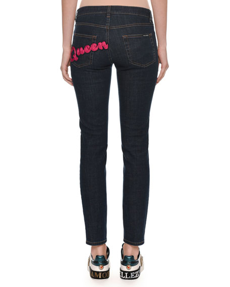 Pretty Fit Five-Pocket Skinny Jeans w/ Queen Back Pocket