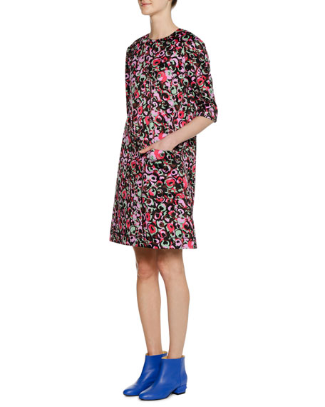 Short-Sleeve Abstract-Print Cotton Woven Dress