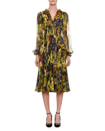 Long-Sleeve Ruched-Waist V-Neck Grape-Print Midi Dress