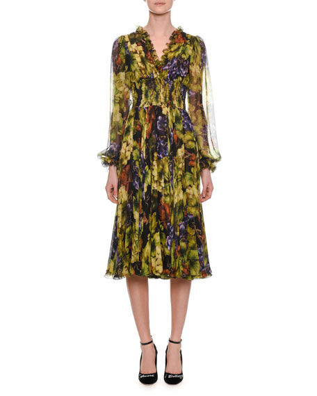 Long-Sleeve Ruched-Waist V-Neck Grape-Print Midi Dress