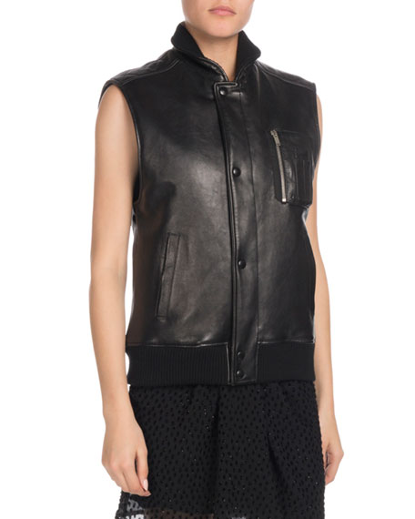 Snap-Front Lambskin Leather Vest