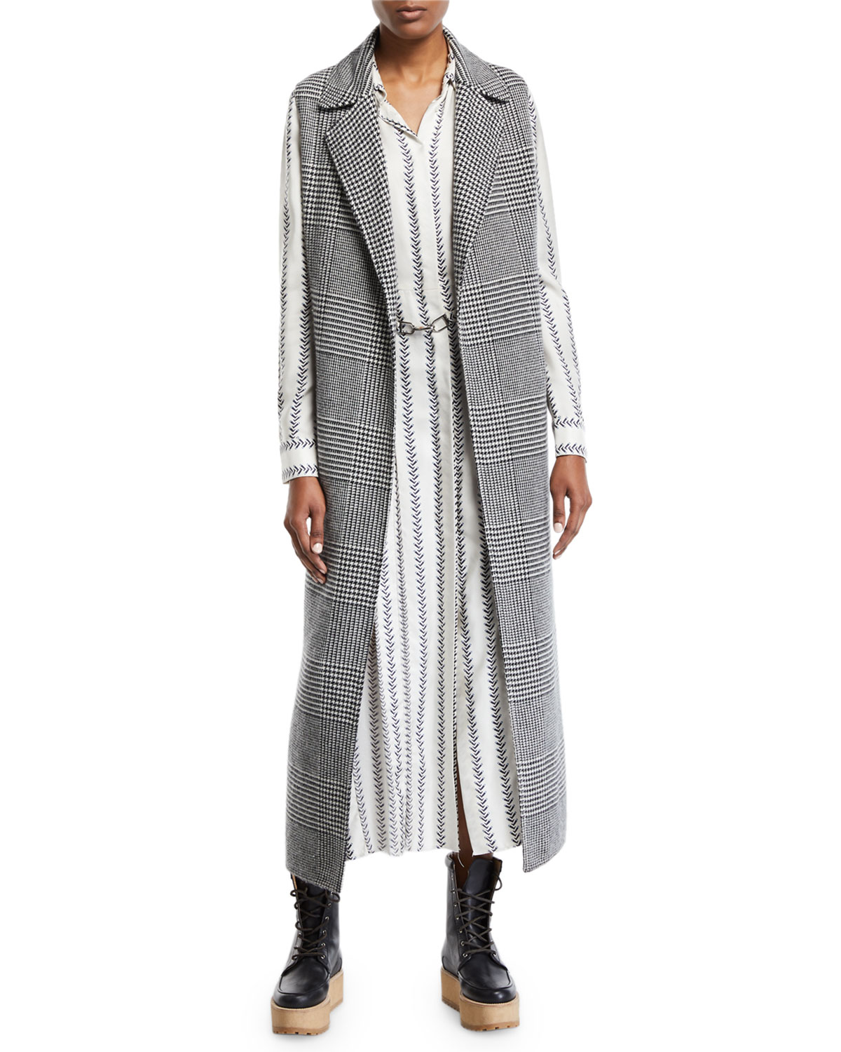 Antonio Cashmere Houndstooth Duster Vest by Gabriela Hearst