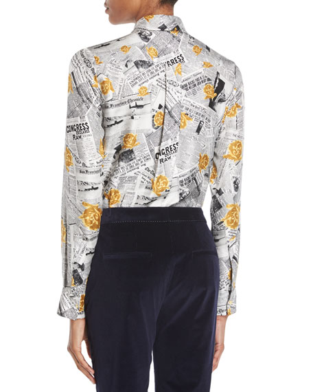 Henri Button-Front Long-Sleeve Newspaper & Rose Print Silk Twill Blouse