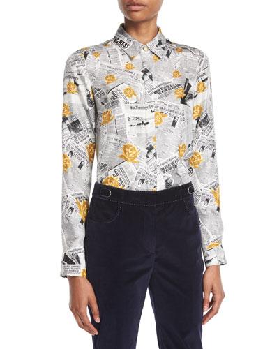 28004e5940d122 Gabriela Hearst Henri Button-Front Long-Sleeve Newspaper   Rose Print Silk  Twill Blouse