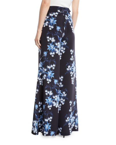 Dream State High-Waist Flared Wide-Leg Floral-Print Silk Pants